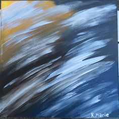 Original abstract acrylic painting Blue Yellow by ArtbyKMarie