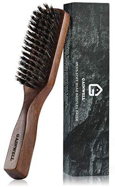 Amazon.com : Mens Wild Boar Bristle Hair Brush - Stiff Bristles, Black Walnut Wooden Handle by GAINWELL : Beauty Boar Bristle Hair Brush, Best Hair Brush, Wet Brush, Wild Boar, Beard Oil, Hair Tools, Good Grips, Wooden Handles, Products