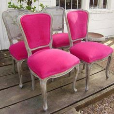 The new eye-catching look features a faux finish and hot pink velvet upholstery.   - HouseBeautiful.com