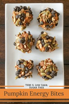 Perfect little balls of pumpkin spice covered with nuts, seeds, and chocolate chips. The perfect blend of sweet and salty. Pumpkin Energy Bites {THM-S, Low Carb, Sugar Free} (Keto Fall Recipes) Sugar Free Recipes, Pumpkin Recipes, Low Carb Recipes, Healthy Recipes, Delicious Recipes, Diabetic Recipes, Fall Recipes, Pumpkin Foods, Healthy Pumpkin