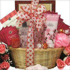 Your special Valentine is going to love to relax with this beautiful spa gift basket surrounded by the crisp fragrance of Cherry Blossom and filled with a nice assortment of bath & body gift items, tea, cookies, chocolates and more. Features moisturizing Body Lotion, Shower Gel and Body Mist all from San Francisco Soap Company, plus a Bath Net Exfoliating Puff, Lindt Milk Chocolate Truffles, J&M Raspberry Tea Cookies, and Stash's Wild Raspberry Hibiscus Herbal Decaffeinated Tea.