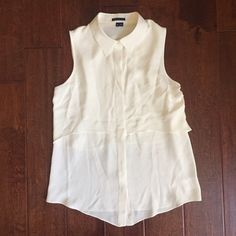 Selling this Theory White Silk Sleeveless Button Up Blouse in my Poshmark closet! My username is: chongkiana. #shopmycloset #poshmark #fashion #shopping #style #forsale #Theory #Tops