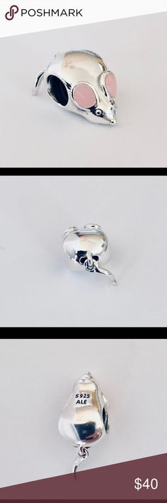 1178a0ea8 Authentic Pandora Cute Mouse Charm Sterling Silver with Pink Enamel Ears.  Hallmark Stamp S 925