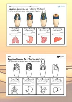 KS2 Ancient Egypt- Canopic Jars Organs Worksheet: