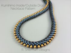 PDF pattern for a Kumihimo necklace featuring inside colors and outside drops.  Pattern is 6 pages and includes pattern variations for a single inside color and for alternating drops, and instructions for finishing two ways. Necklace length is approximately 18. Instructions provided to increase or decrease the length.  Techniques used: 8 warp cord 2-drop Kongo Gumi (beaded round braid), counted Pattern. Prior experience with Kumihimo braiding with beads is essential.  The listing photos show…