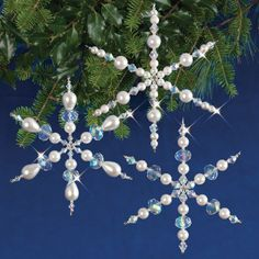 Solid Oak Holiday Beaded Ornament Kit-Sparkling Snowflakes Makes 3