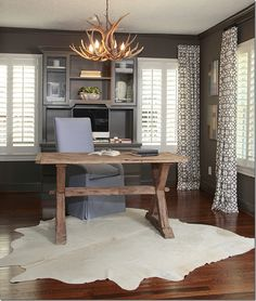 Home office - I'm really digging the antler chandelier to bring some balance for. Home office – I'm really digging the antler chandelier to bring some balance for Evin's love Home Office Space, Home Office Design, Home Office Decor, House Design, Home Decor, Office Ideas, Office Designs, Design Design, Rustic Office Decor