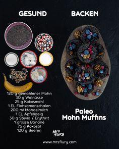 Healthy Paleo Poppy Muffins vegan, sugar free and gluten free - Low Carb Rezepte vegetarisch - gesunde Rezepte - Gesundes Essen Paleo Dessert, Bon Dessert, Healthy Dessert Recipes, Detox Recipes, Paleo Vegan, Vegan Sugar, Healthy Gluten Free Recipes, Vegan Gluten Free, Healthy Cake