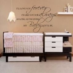 Pink tan and white is the ideal nursery color scheme and the decal wall quote is perfect. I was searching for inspiration when I found this pink and brown nursery with an inspirational quote on the wall over the crib that made me cry.  Go Here