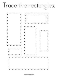 Trace the rectangles Coloring Page - Twisty Noodle Preschool Journals, Kindergarten Homeschool Curriculum, Preschool Writing, Preschool Learning Activities, Toddler Learning, Shape Activities, Preschool Crafts, Shape Worksheets For Preschool, Shapes Worksheets