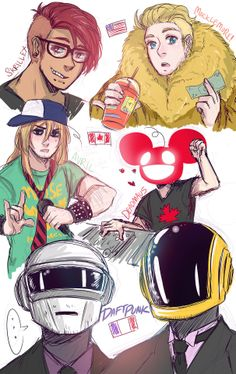 ((Look at all these Hetalia characters with their 2p's and their favorite bands, yes.))