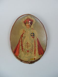 Mid Century Infant of Prague Log Plaque Souvenir of Ironwood Michigan by lookonmytreasures on Etsy