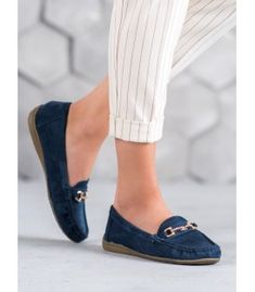 Sixth Sense Moccasins With Ornament blue Types Of Heels, Heeled Loafers, Artificial Leather, Loafers For Women, Elegant Woman, Spring Summer Fashion, Suede Leather, Moccasins, Boat Shoes