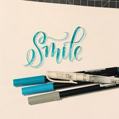 """Like Annie says, """" You're never fully dressed without a Smile!"""" - great, now I'll be singing Annie songs all night! Hand Lettering 101, Hand Fonts, Hand Lettering Alphabet, Hand Lettering Tutorial, Cool Lettering, Types Of Lettering, Brush Lettering, Letter Art, Letters"""