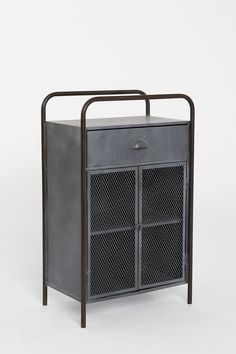 This could make for a cool industrial bar cabinet. // Urban Outfitters 4040 Locust Caged Metal Cabinet