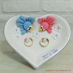 Heart shape love birds ring bearer dish wedding gift by annacrafts, $50.00