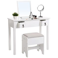 SONGMICS Vanity Set with Flip Top Mirror Makeup Dressing Table Writing Desk with 2 Drawers Cushioned Stool 3 Removable Organizers Easy Assembly White URDT01M.   For product info please visit:  https://homeandgarden.today/songmics-vanity-set-with-flip-top-mirror-makeup-dressing-table-writing-desk-with-2-drawers-cushioned-stool-3-removable-organizers-easy-assembly-white-urdt01m/