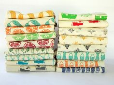 Kitchen Towels Hand Printed Choose Your Set of 5 Hostess Gift by TheHighFiber USD) Flour Sack Towels, Tea Towels, Inchies, Shabby, Red Butterfly, Handmade Kitchens, Brown Floral, Vintage Embroidery, Towel Set