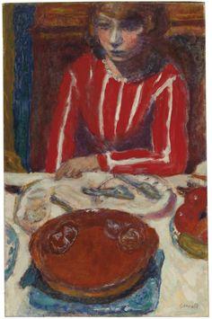 thunderstruck9: Pierre Bonnard (French, 1867-1947), Femme à table, 1923. Oil on canvas, 65.4 x 42 cm.