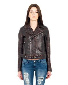 HTC Crocodile look leather jacket brown variant  V-neck long sleeves with zippered cuffs two front zippered pockets belt loops with belt cross zipper closure 100% Leather  Lining: 100% VI