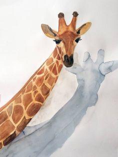 Acuarela Jirafa 50x70cm Serie Animales G de Elena Calonje