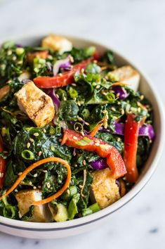 Kale Salad with Fried Tofu and Miso Ginger Dressing - an easy vegan salad with asian flavors | healthynibblesandbits.com #Salad #Kale #Tofu #Miso #Ginger