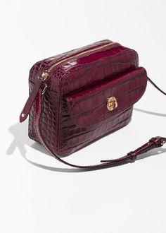 Back image of Stories mini leather shoulder bag in red