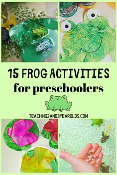 Looking for fun preschool frog activities? This collection includes 15 hands-on ideas that include art, sensory and science! #frogs #science #art #sensory #finemotor #preschool #toddlers #age2 #age3 #age4 #printables #teaching2and3yearolds Frog Crafts Preschool, Frog Activities, Animal Activities, Spring Activities, Motor Activities, Pond Crafts, Reptiles, Amphibians, Frog Habitat