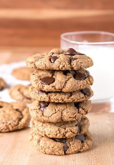 Almond Butter Chocolate Chip Cookies - Cookin' with Mima, unusual no flour! Delicious Cookie Recipes, Best Cookie Recipes, Best Dessert Recipes, Baking Recipes, Yummy Food, Bar Recipes, Family Recipes, Cupcake Recipes, Free Recipes