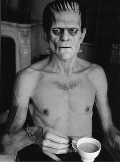 Boris Karloff drinking coffee while filming Frankenstein this is kind of how I feel in the mornings!