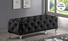 Baxton Studio Stella Crystal-Tufted Black Bench with Chrome-plated Metal Legs - $199.99
