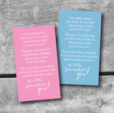 Baby Shower ~ Request a book instead of a card!  Color choice of INSTANT DOWNLOAD Baby Shower Book request Card  color by ItsyBelle, $3.50. Pink, Blue, Green or Purple
