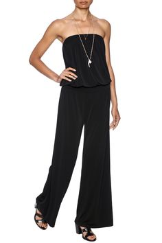 """Strapless black jumpsuit with a blouson top, elastic bust and waistand flared pant legs. Machine wash cold, tumble dry on low heat. Do not use bleach.  Approx. Measures: 32"""" inseam. Little Black Jumpsuit by Veronica M. Clothing - Jumpsuits & Rompers - Jumpsuits Avalon, New Jersey"""