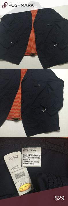 Talbot's women Petite Navy Cotton Jacket Size 22W New with tags.  Retails $98.  Elastic band across back for additional stretch.  Navy blue.  Long sleeves.  Short style.  Front pockets.  Lightweight for all seasons.  Size 22WP Talbot's Woman Petite Jackets & Coats Blazers