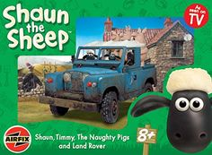 Airfix A50018 1:12 Scale Shaun The Sheep Shaun, Timmy, The Naughty Pigs and Land Rover Film & TV Character Gift Set inc Paints Glue and Brushes: ...