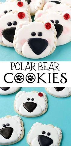 Easy Polar Bear Cookies by www.thebearfootbaker.com