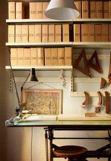 A desk in the workroom of Studio Achille Castiglioni in Milan.