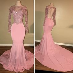 O Neck Long Sleeves Prom Dresses 2019 Sexy Pink Open Back Evening Party Gowns Arabic Party Gowns Special Occasion Gowns, Prom Dresses Long Pink, Prom Dresses Long With Sleeves, Prom Dresses 2018, Backless Prom Dresses, Mermaid Prom Dresses, Cheap Prom Dresses, Party Dresses, Pink Dresses, Bridesmaid Dresses