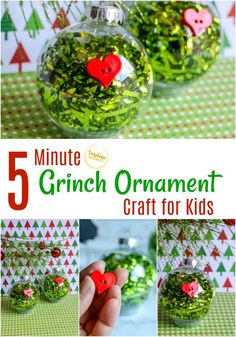 5 Minute Grinch Ornament Craft For Kids This festive Grinch-inspired ornament would be great for a quick Christmas craft for kids to make! ornament crafts for kids 5 Minute Grinch Ornament Craft For Kids Grinch Ornaments, Ornament Crafts, Christmas Ornaments, Crochet Ornaments, Crochet Snowflakes, Christmas Crafts For Kids To Make, Easy Crafts For Kids, Homemade Christmas, Christmas Books
