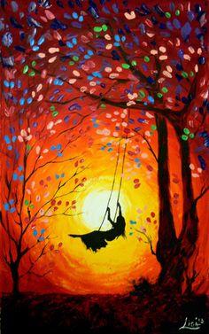 Original abstracto pintura el columpio por ArtonlineGallery Más