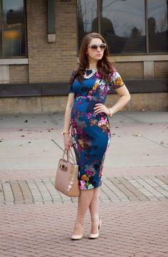 Floral Bump style, maternity ASOS dress, midi bodycon dress, pregnancy, maternity wear//Happy Medley