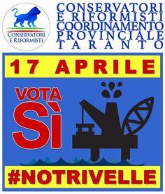 """Gianfranco Chiarelli su Twitter: """"Il nostro territorio ha già dato e subito tanto, votiamo uniti e compatti SI al referendum trivelle #cor #taranto…"""