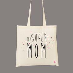 My Super Mom  Sac cabas pour votre super maman ou une nouvelle maman. Un cadeau personnalisé pour vos proches, pour un sac cadeau ou un cadeau