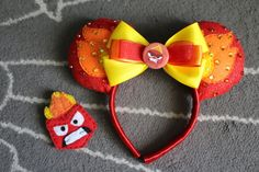 Inside Out Anger inspired Mickey ears plus by ThreeLittleTinkers