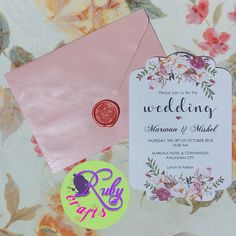FLORAL WEDDING INVITATION by Ruby Crafts and Gifts Shop #rubycrafts #rubycraftsandgiftsshop #giftshop #pinkandpeachfloralweddinginvitation #floralweddinginvitation #weddinginvite #waxsealedweddinginvitation Floral Wedding Invitations, Birthday Invitations, Christening, Paper Crafts, Shop, Cards, Gifts, Presents, Paper Craft Work
