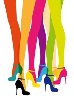 Colourful tights and shoes illustration World Of Color, Color Of Life, Color Splash, Color Pop, Colour Colour, Bold Colors, Colours, True Colors, Shoe Art