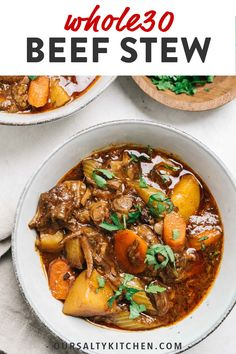 This is the best Beef Stew! Braised in a dutch oven in a rich and savory gravy with hearty vegetables, it's also surprisingly easy to make! Paleo Recipes, Real Food Recipes, Dinner Recipes, Paleo Meals, Paleo Food, Dessert Recipes, Dutch Oven Beef Stew, Beef Stew Paleo, Dutch Oven Stew Recipe