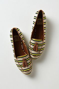 yellow striped loafers. perfect for summer