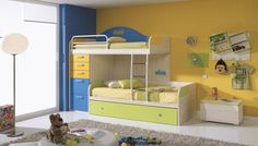 Kids Room: Alluring Girl Bedroom Design Ideas With White Laminate Floor Sweet Wooden Bedroom Current Standing Lamp Cool Yellow Cushions Feat Nice Ornament Blue Yellow Wall Paint: Cool Kids Bedroom Design Ideas With Simple Furniture Decorations Plus Elegant Bedroom Designt Ideas
