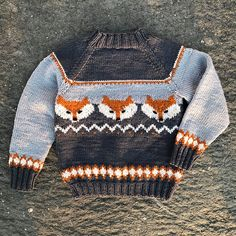 Ravelry: Fox sweater pattern by Eva Norum Olsen Designer Knitting Patterns, Baby Sweater Knitting Pattern, Fair Isle Knitting Patterns, Knitting Designs, Baby Patterns, Knit Patterns, Knit Or Crochet, Crochet Pattern, Fox Sweater
